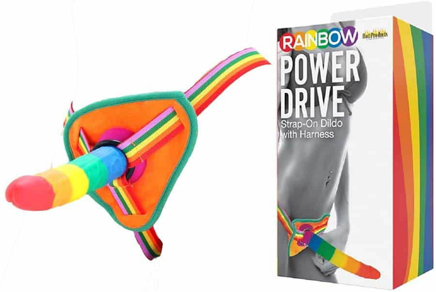 Rainbow power drive strap on harness with 7-inch silicone dildo